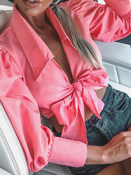 Pink Plunge Bow Tie Front Puff Sleeve Crop Blouse