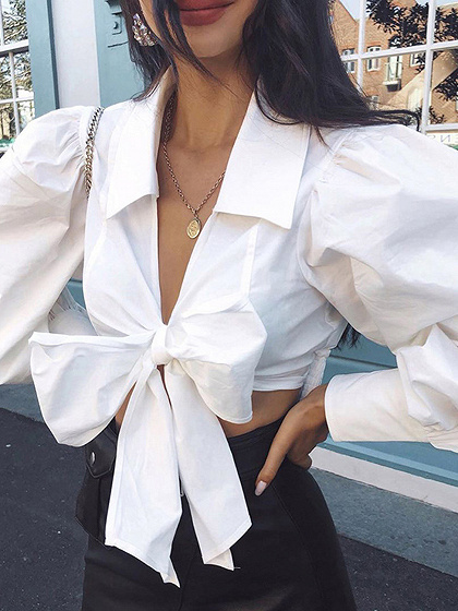 White Plunge Bow Tie Front Puff Sleeve Crop Blouse