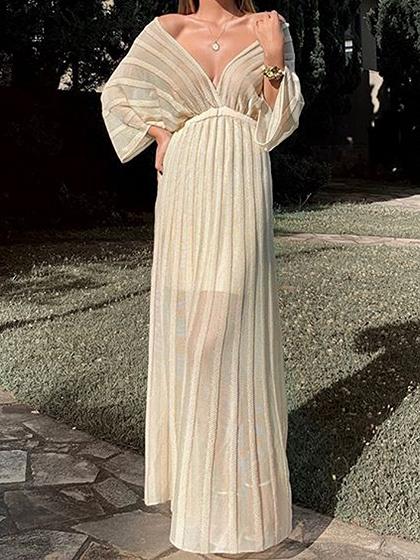 White Plunge Batwing Sleeve Maxi Dress