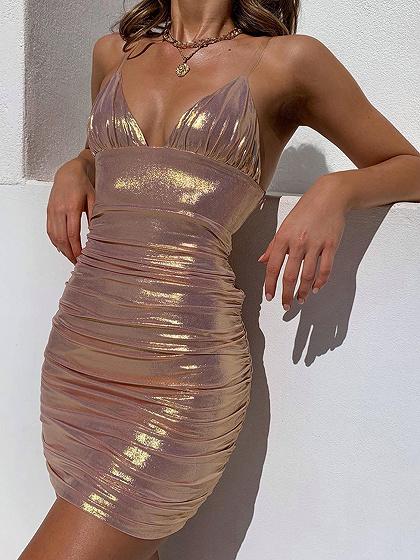 Pink V-neck Bodycon Cami Mini Dress