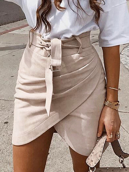 Pink Suede High Waist Mini Skirt