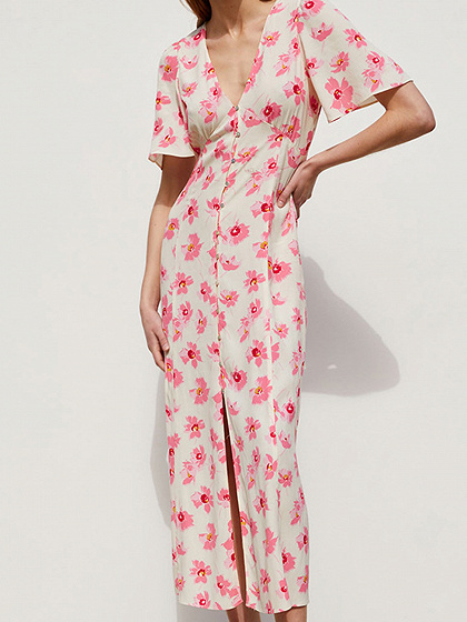 Red V-neck Floral Print Flare Sleeve Maxi Dress