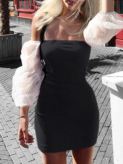 Black Off Shoulder Puff Sleeve Bodycon Mini Dress