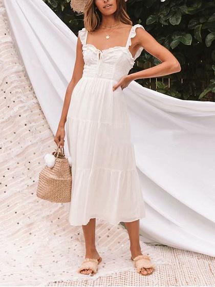 White Lace Panel Ruffle Trim Cami Maxi Dress