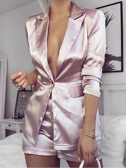 Pink Lapel Long Sleeve Blazer And High Waist Shorts