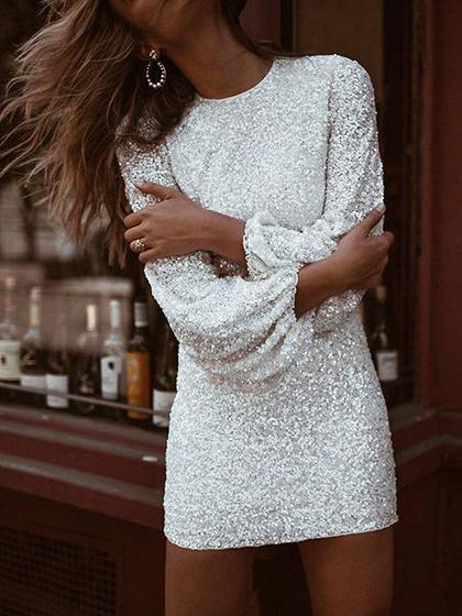 White Sequin Detail Puff Sleeve Mini Dress