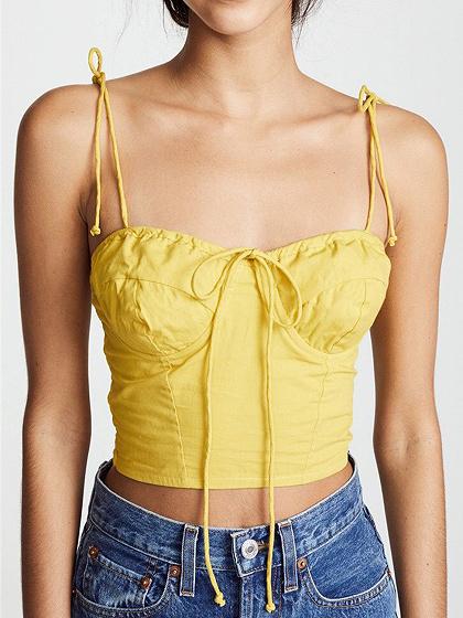 Yellow Drawstring Front Crop Cami Top