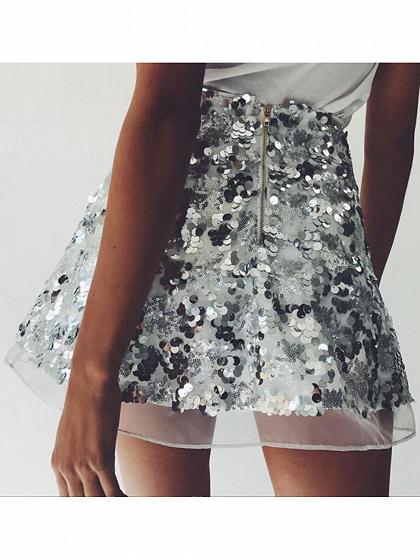 Silver High Waist Sequin Detail Mini Skirt