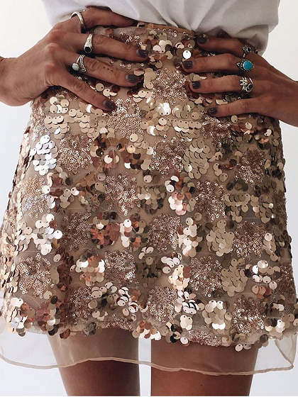 Golden High Waist Sequin Detail Mini Skirt