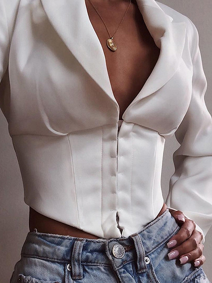 White Lapel Neck Long Sleeve Crop Blazer