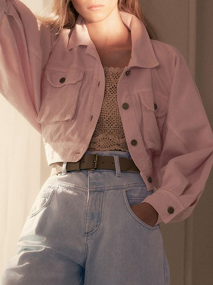 Pink Lapel Neck Puff Sleeve Crop Jacket