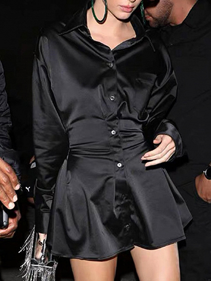 Black Lapel Neck Button Placket Front Long Sleeve Mini Dress