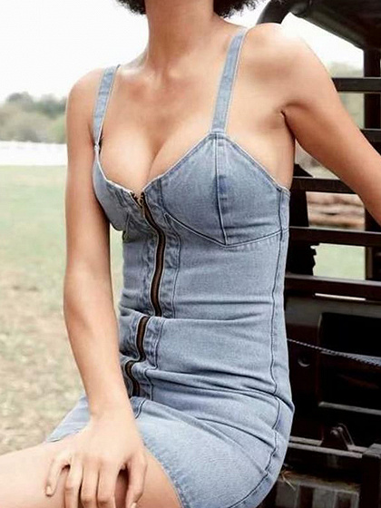 Light Blue V-neck Zip Front Denim Cami Mini Dress