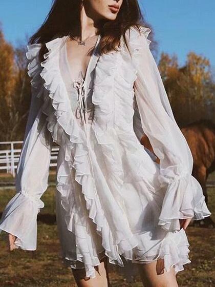 White Plunge Lace Up Front Ruffle Trim Puff Sleeve Mini Dress