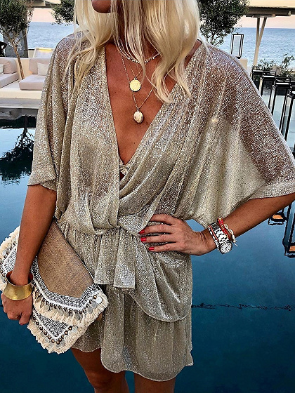 Golden V-neck Ruffle Trim Batwing Sleeve Mini Dress