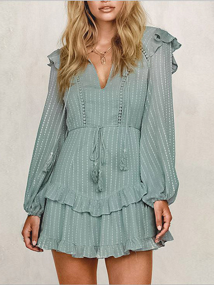 Green V-neck Open Back Ruffle Trim Puff Sleeve Mini Dress