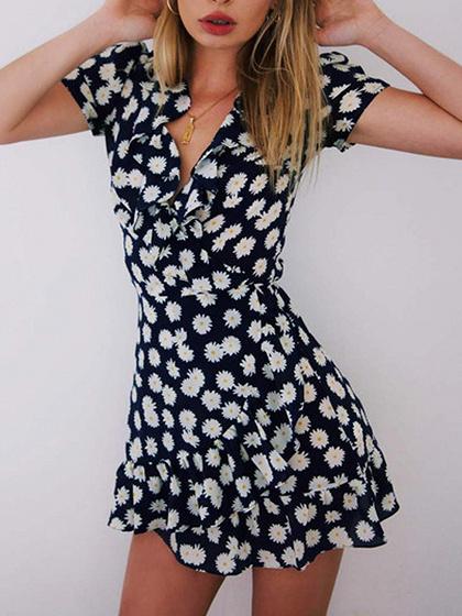 Dark Blue V-neck Daisy Print Ruffle Trim Mini Dress