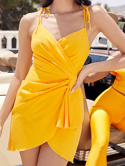 Yellow V-neck Tie Waist Cami Mini Dress