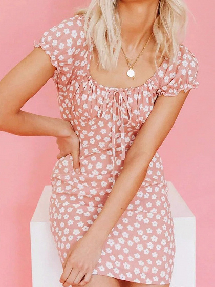 Pink Floral Print Drawstring Front Mini Dress