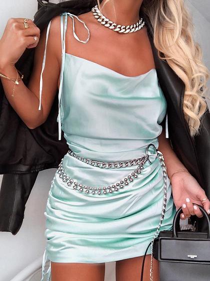 Green Open Back Cami Mini Dress