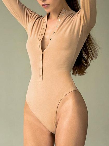 Khaki Button Placket Front Long Sleeve Bodysuit