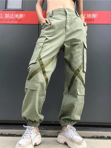 Green High Waist Pockets Detail Cargo Pants