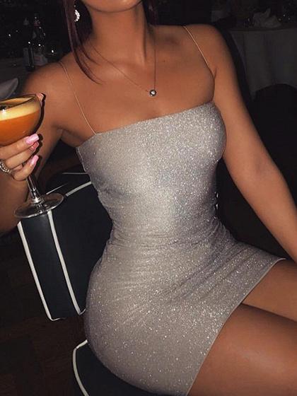 Silver Lurex Yarn Bodycon Cami Mini Dress