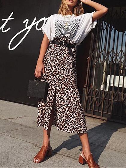 Brown High Waist Leopard Print Split Front Maxi Skirt