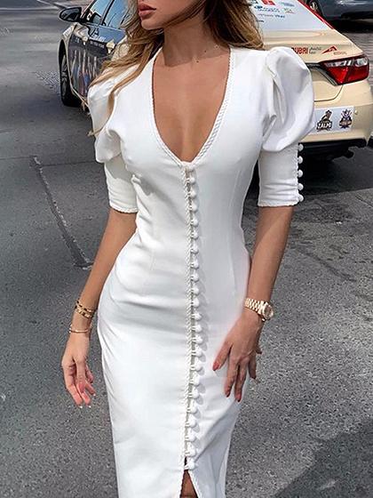 White V-neck Button Placket Front Puff Sleeve Bodycon Dress