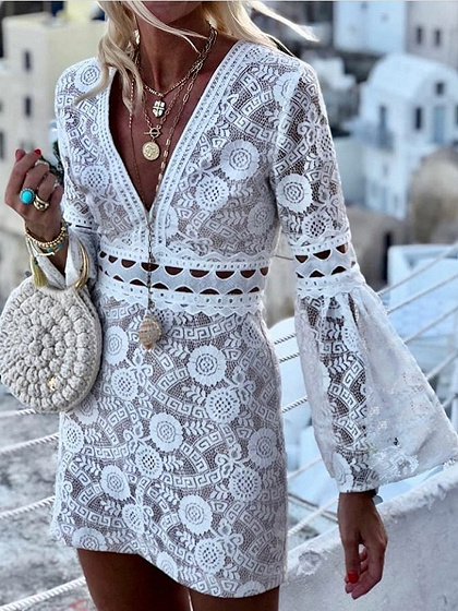White V-neck Flare Sleeve Lace Mini Dress