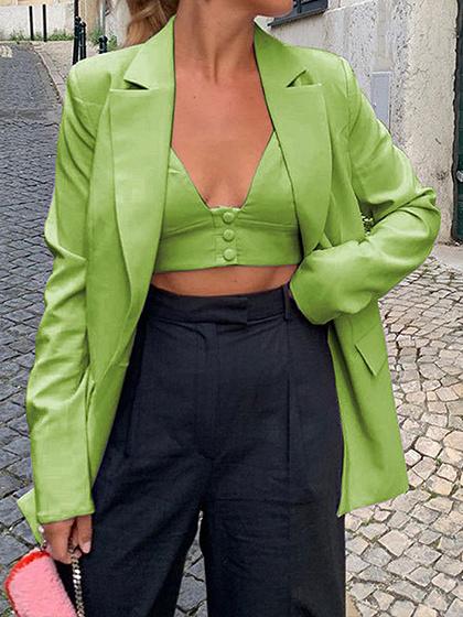 Green Lapel Neck Long Sleeve Blazer