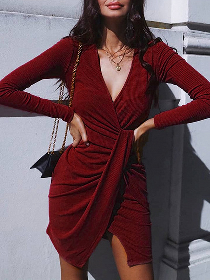 Burgundy Ribbed V-neck Knot Front Long Sleeve Mini Dress