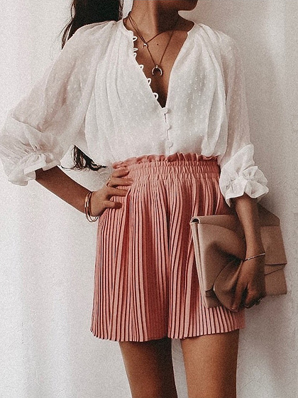 White V-neck Puff Sleeve Shirt