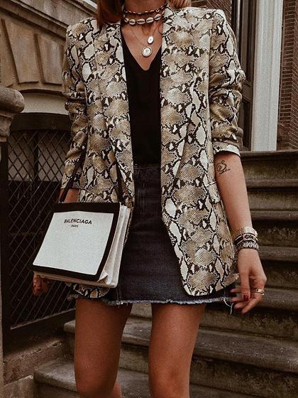 Brown Snakeskin Print Long Sleeve Blazer