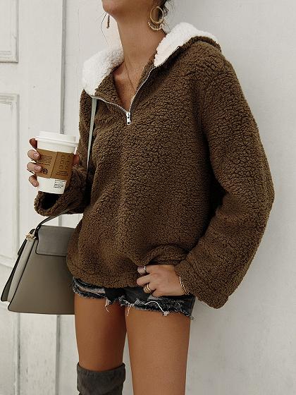 Brown Zip Front Long Sleeve Hoodie