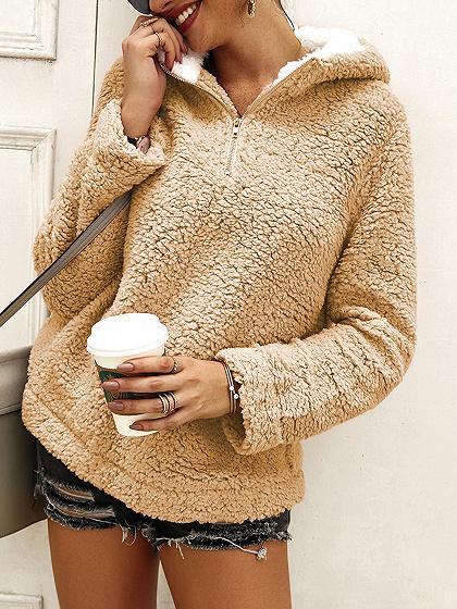 Khaki Zip Front Long Sleeve Hoodie