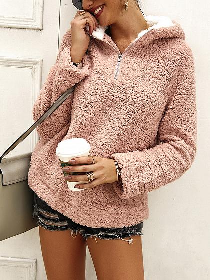 Pink Zip Front Long Sleeve Hoodie