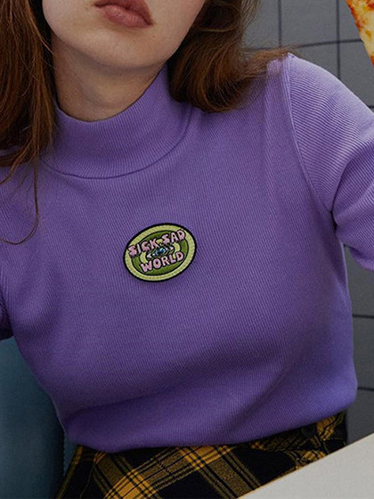 Purple Ribbed Embroidery Detail Long Sleeve T-shirt