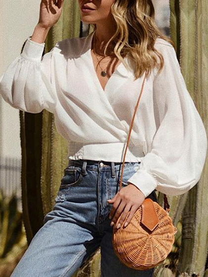 White V-neck Puff Sleeve Blouse
