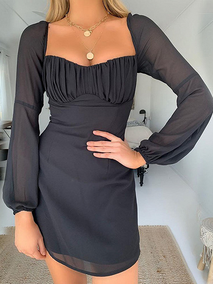 Black Ruched Detail Long Sleeve Mini Dress