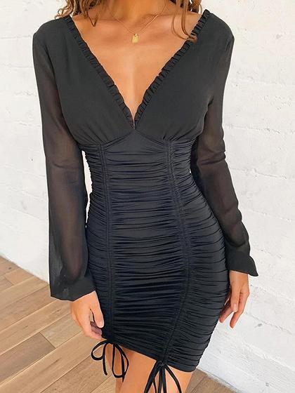 Black V-neck Frill Trim Long Sleeve Bodycon Mini Dress