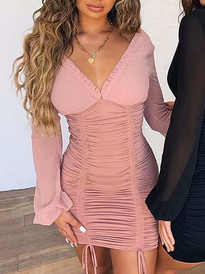 Pink V-neck Frill Trim Long Sleeve Bodycon Mini Dress