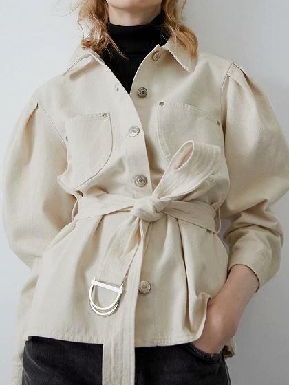 White Buckle Strap Waist Long Sleeve Shirt