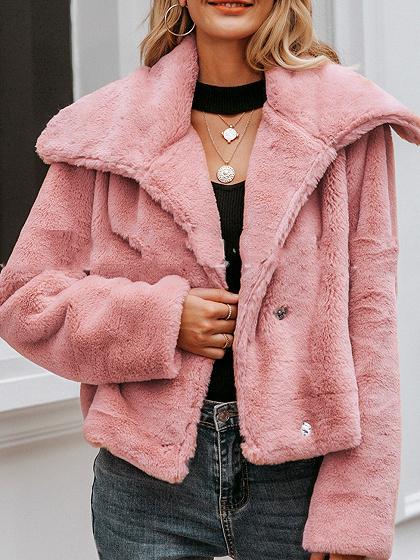 Pink Lapel Neck Long Sleeve Faux Fur Coat