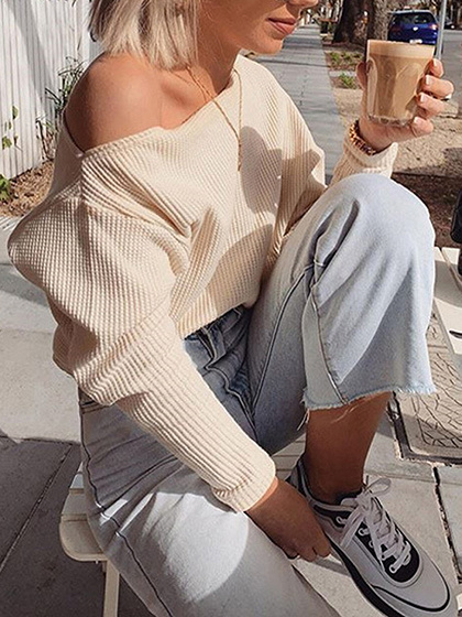 Beige Asymmetric Neck Long Sleeve Sweater