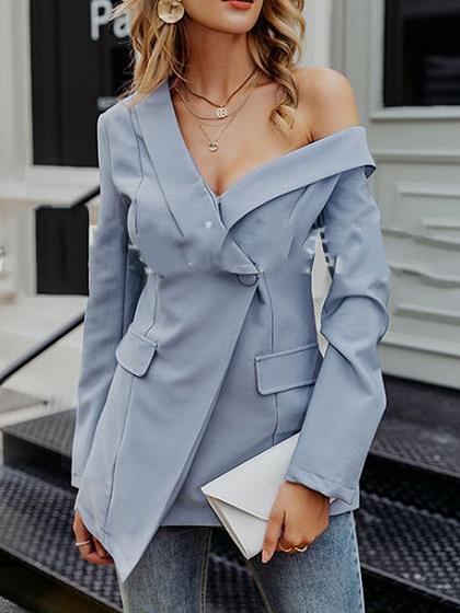 Blue One Shoulder V-neck Long Sleeve Blazer