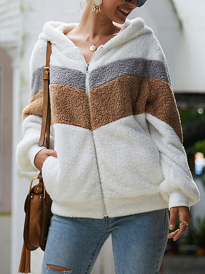 White Contrast Long Sleeve Fluffy Hoodie Coat