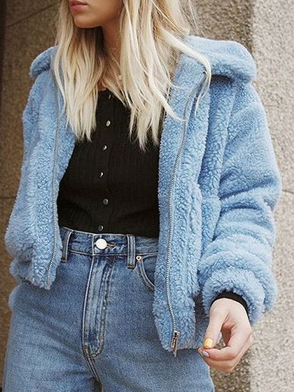 Blue Long Sleeve Coat