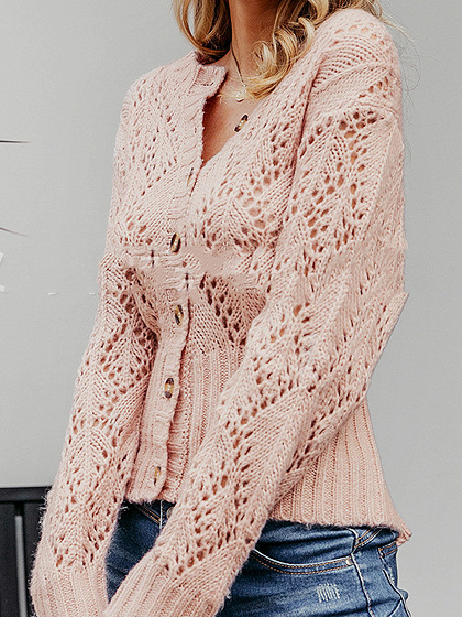 Pink Cut Out Detail Long Sleeve Cardigan
