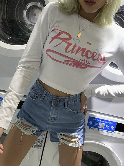 White Letter Print Long Sleeve Crop Top